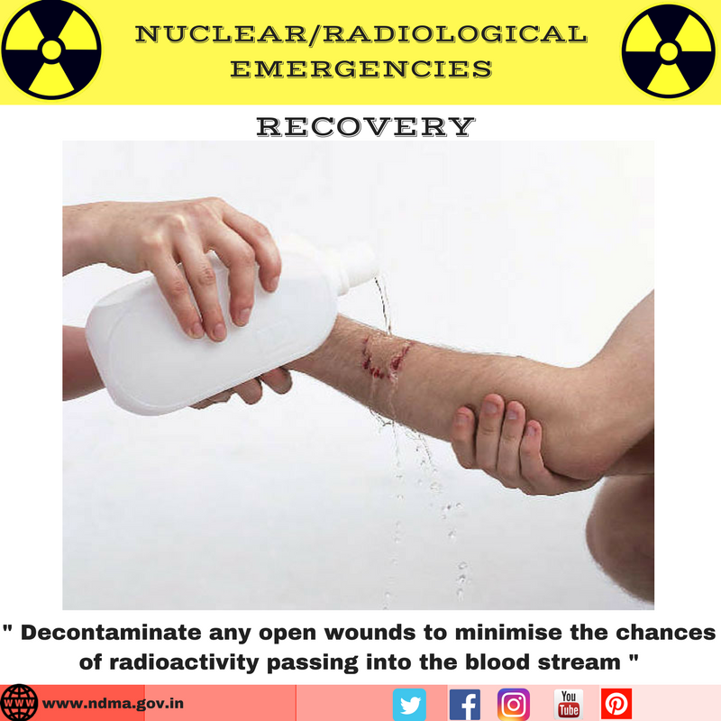 Decontaminate any open wounds to minimise the chances of radioactivity passing into the blood stream