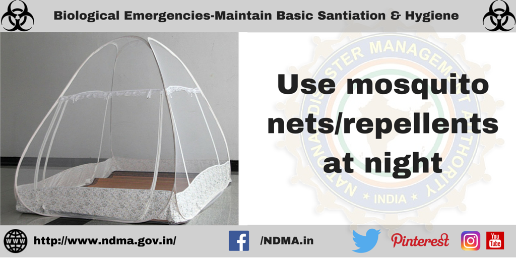 Use mosquito nets/repellents at night