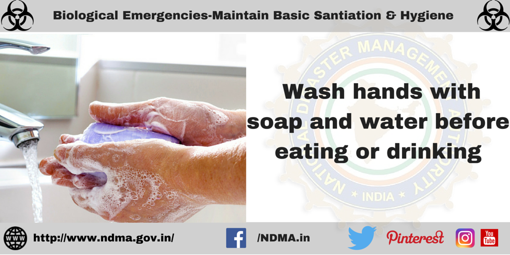 Wash hands with soap and water before eating or drinking