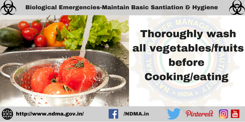 Thoroughly wash all vegetables/fruits before cooking/eating