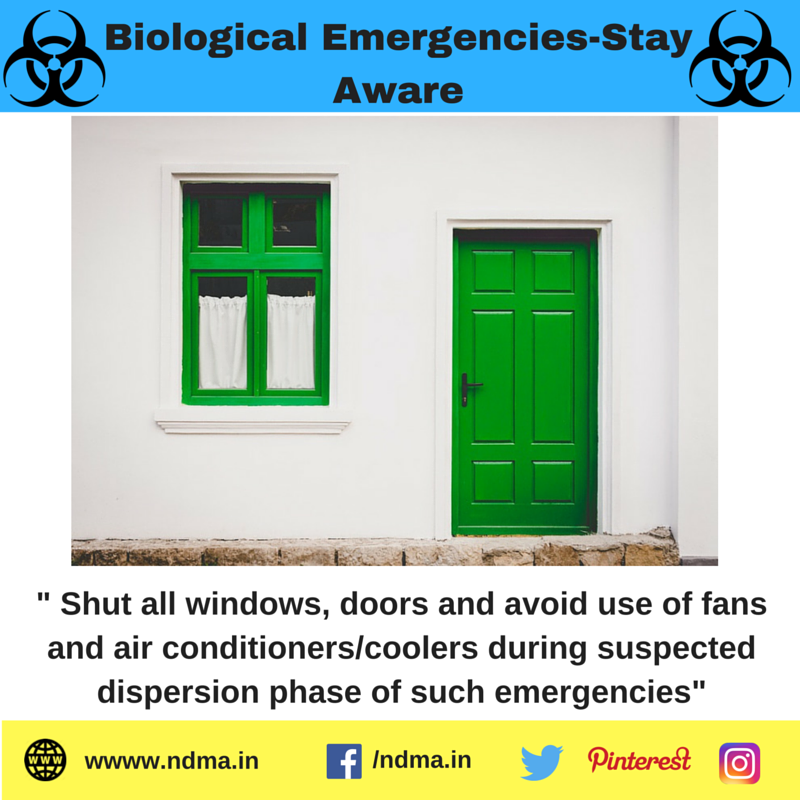 Shut all windows, doors and avoid use of fans and air conditioners/coolers during suspected dispersion phase of such emergencies