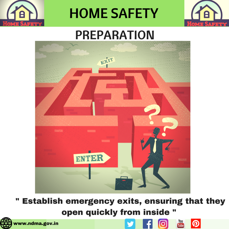 Establish emergency exits, ensuring that they open quickly from inside