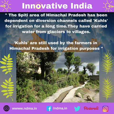 Kulhs – diversion channels used for irrigation in Himachal Pradesh