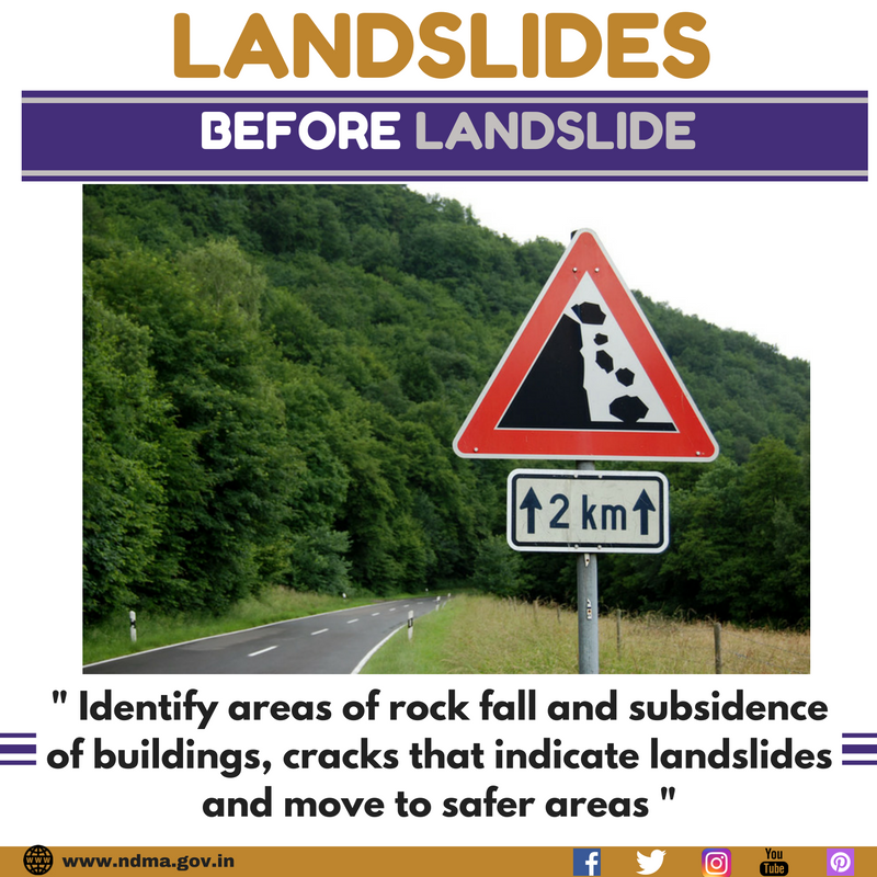 Identify areas of rock fall and subsidence of buildings, cracks that indicate landslides and move to safer areas