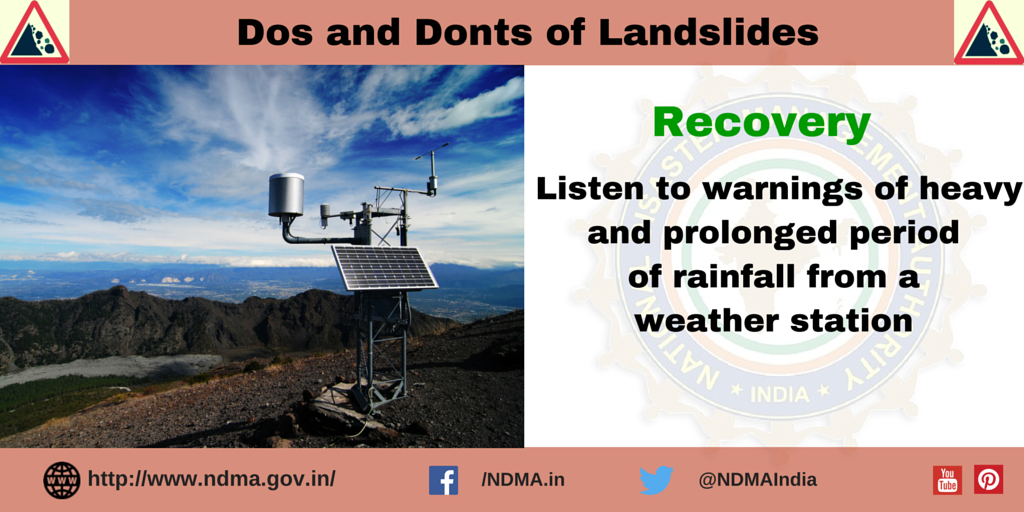Listen to warnings of heavy and prolonged period of rainfall from a weather station