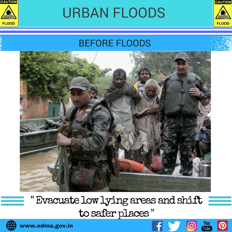 Before urban flood - evacuate low lying areas and shift to safer places