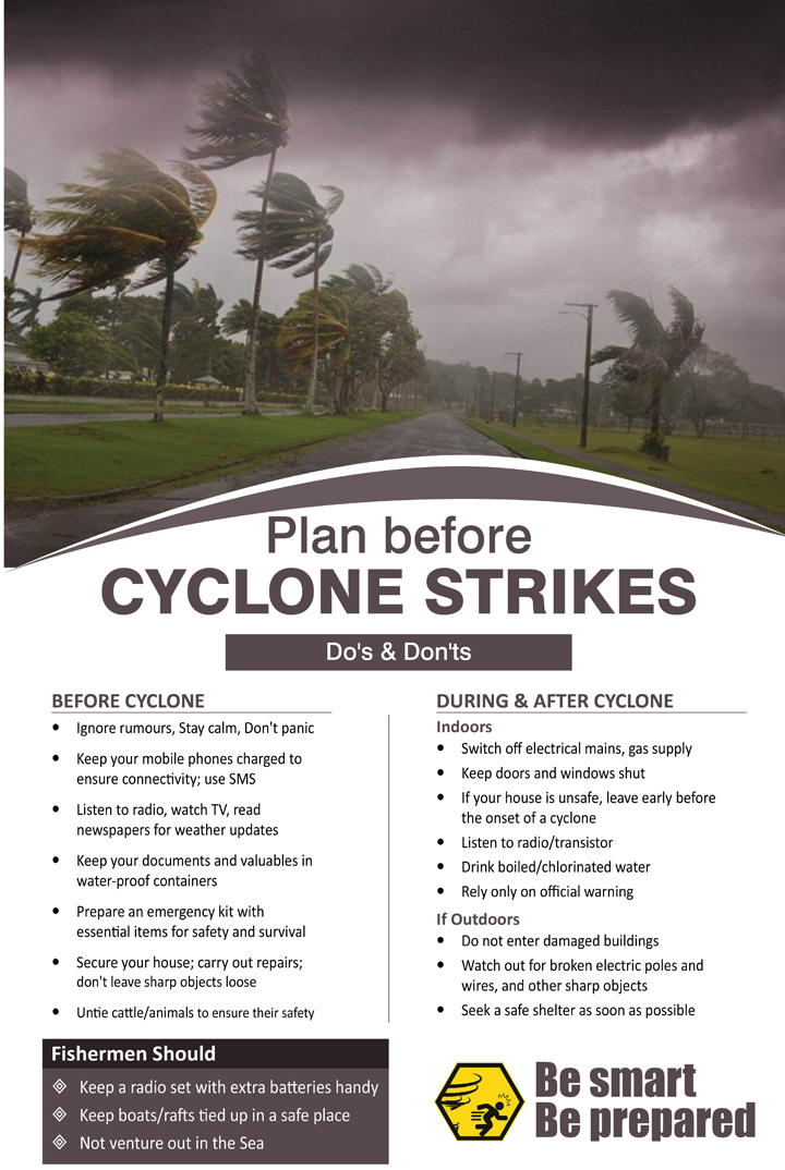 Plan before a cyclone strikes. Do's and don'ts of cyclone.