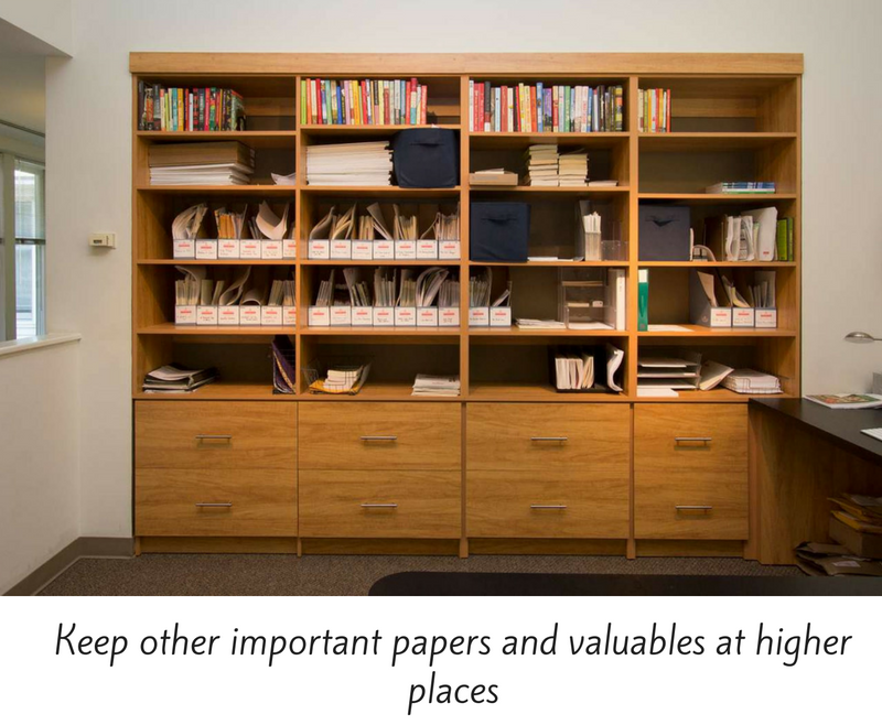 Keep other important papers and valuables at higher places.